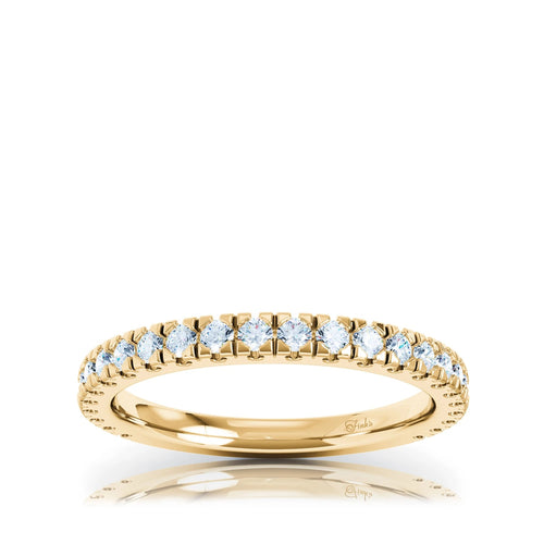 The Studio Collection Yellow Gold Prong Set Diamond Half-Way Wedding Band