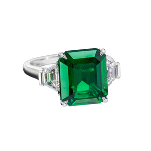Sabel Collection Platinum Emerald Cut Emerald and Diamond Ring