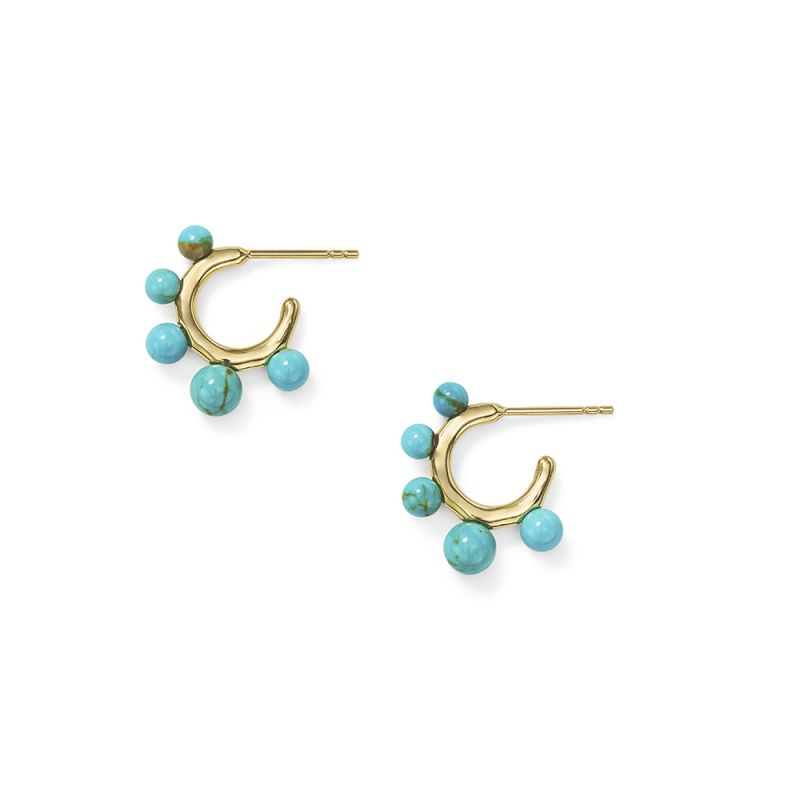 IPPOLITA Nova 18K Yellow Gold Teeny Hoop Earrings with Graduated Turquoise Spheres