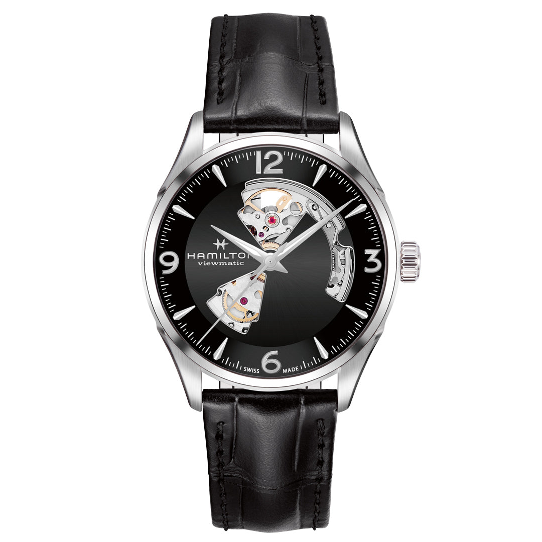 Hamilton Jazzmaster Open Heart Auto Black Strap Watch