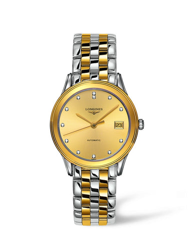 Longines Flagship Collection 35mm Yellow Golden Dial Gent's Watch with Diamond Indexes