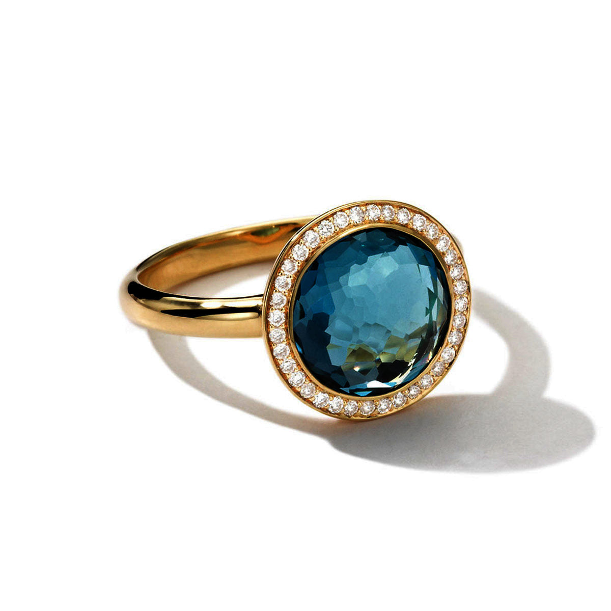 IPPOLITA Rock Candy® Mini Lollipop Ring in London Blue Topaz with Diamonds