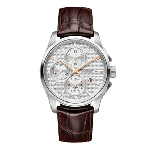 Hamilton Jazzmaster Auto Chrono Silver Dial Rose Golden Accent Chronograph Watch