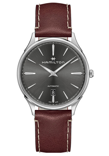 Hamilton Jazzmaster Thinline Auto Grey Dial Watch with Leather Strap