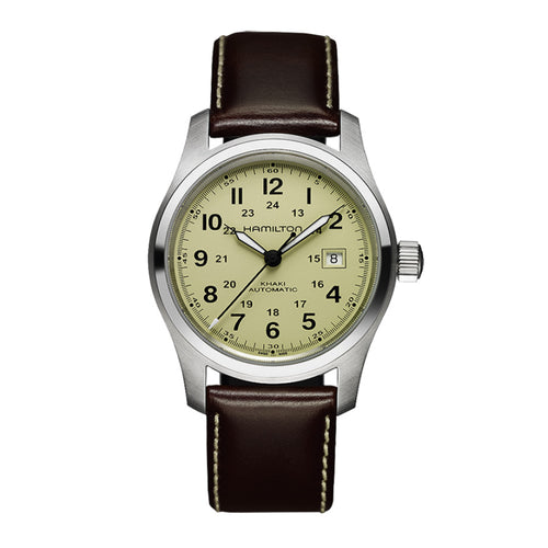 Hamilton Khaki Field Auto Beige Dial Watch with Brown Leather Strap