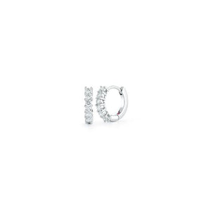 Roberto Coin Perfect Diamond Hoops 18K White Gold Prong Set Diamond Hoop Earrings