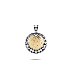 John Hardy Dot 18K Yellow Gold and Sterling Silver Round Enhancer with Hammering