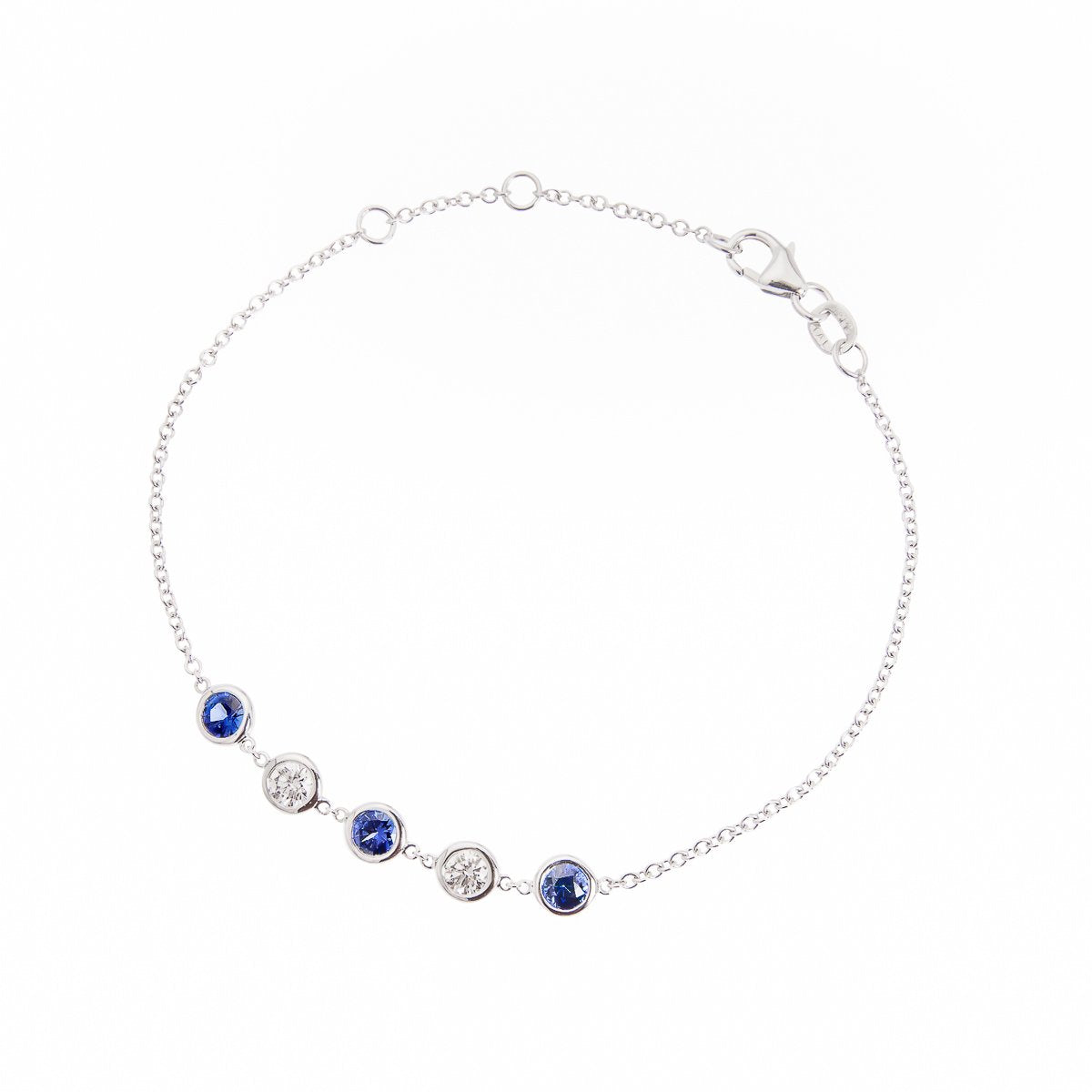 Sabel Collection 18K White Gold Round Sapphire and Round Diamond Station Bracelet