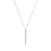 Sabel Collection 14K White Gold Round Light Mocha Diamond Line Drop Necklace
