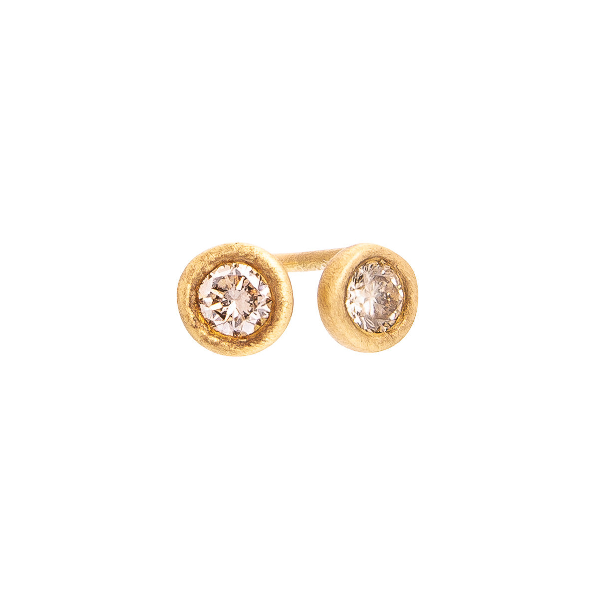 Sabel Collection 18K Yellow Gold Fancy Color Diamond Bezel Set Stud Earrings