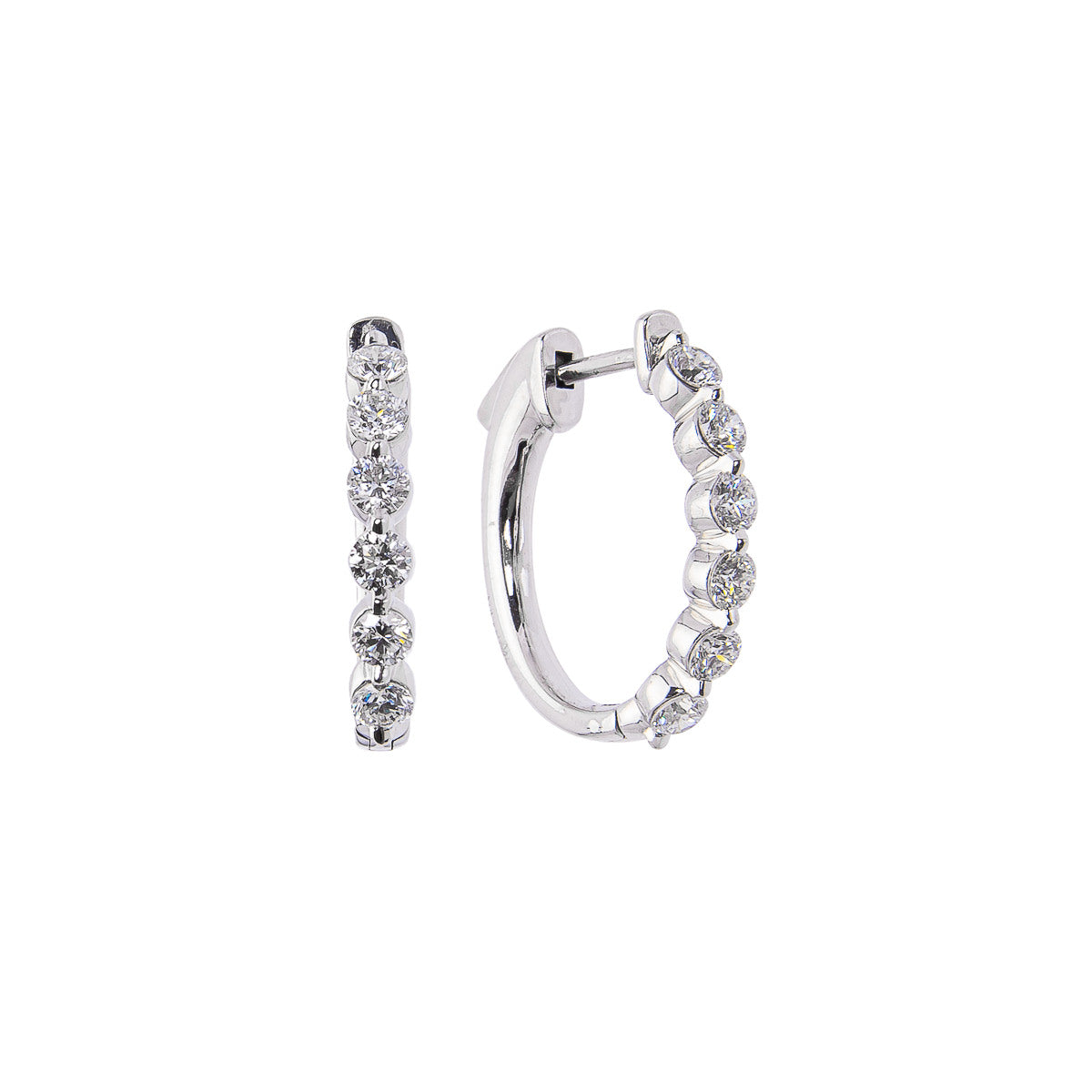 Sabel Collection 18K White Gold Diamond Huggie Hoop Earrings
