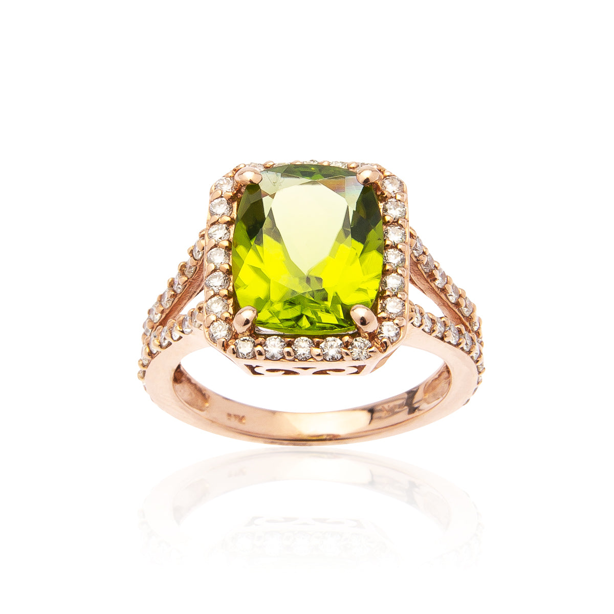 Sabel Collection 14K Rose Gold Cushion Peridot and Diamond Halo Ring