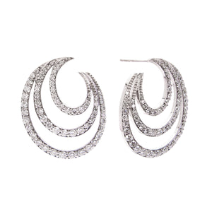 Sabel Collection 14K White Gold Three Row Diamond Earrings