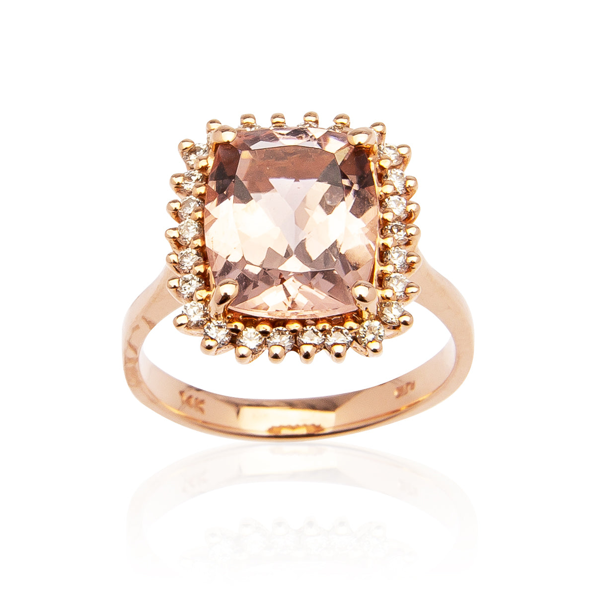 Sabel Collection 14K Rose Gold Cushion Morganite and Diamond Ring
