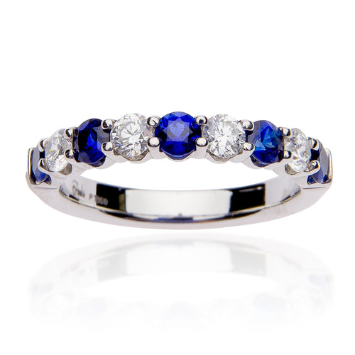 Fink's Platinum Sapphire and Diamond Wedding Band