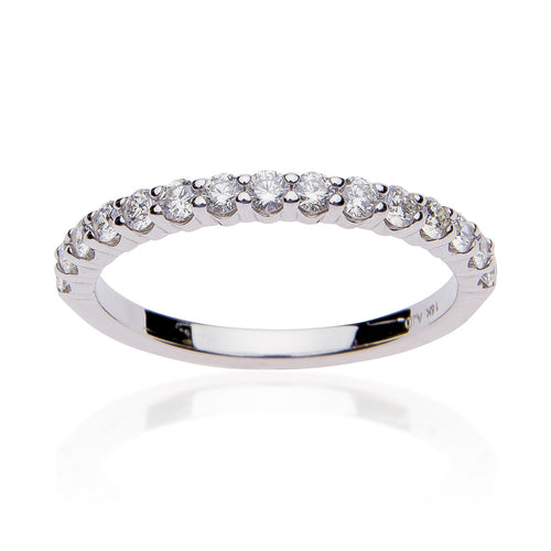 Fink's 18K White Gold 15 Stone Prong Set Wedding Band