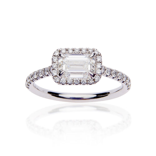 Fink's Exclusive Platinum Emerald Cut Diamond Engagement Ring