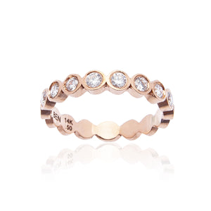 Sabel Collection Bezel Set Diamond Stacking Ring in 14K Rose Gold