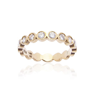 Sabel Collection Bezel Set Diamond Stacking Ring in 14K Yellow Gold