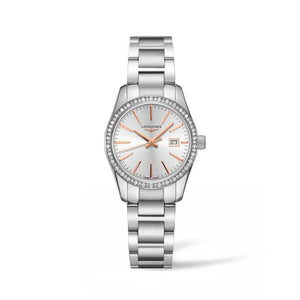Longines Conquest Classic Collection 29.5mm Silver Dial Diamond Bezel Ladies' Watch