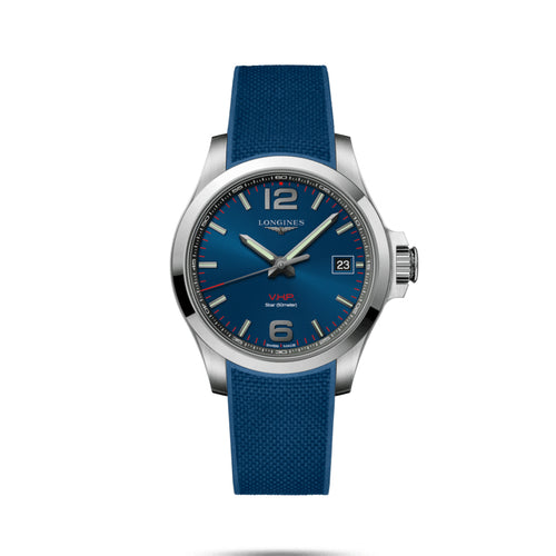 Longines Conquest V.H.P. Collection 41mm Blue Dial Gent's Watch with Rubber Strap