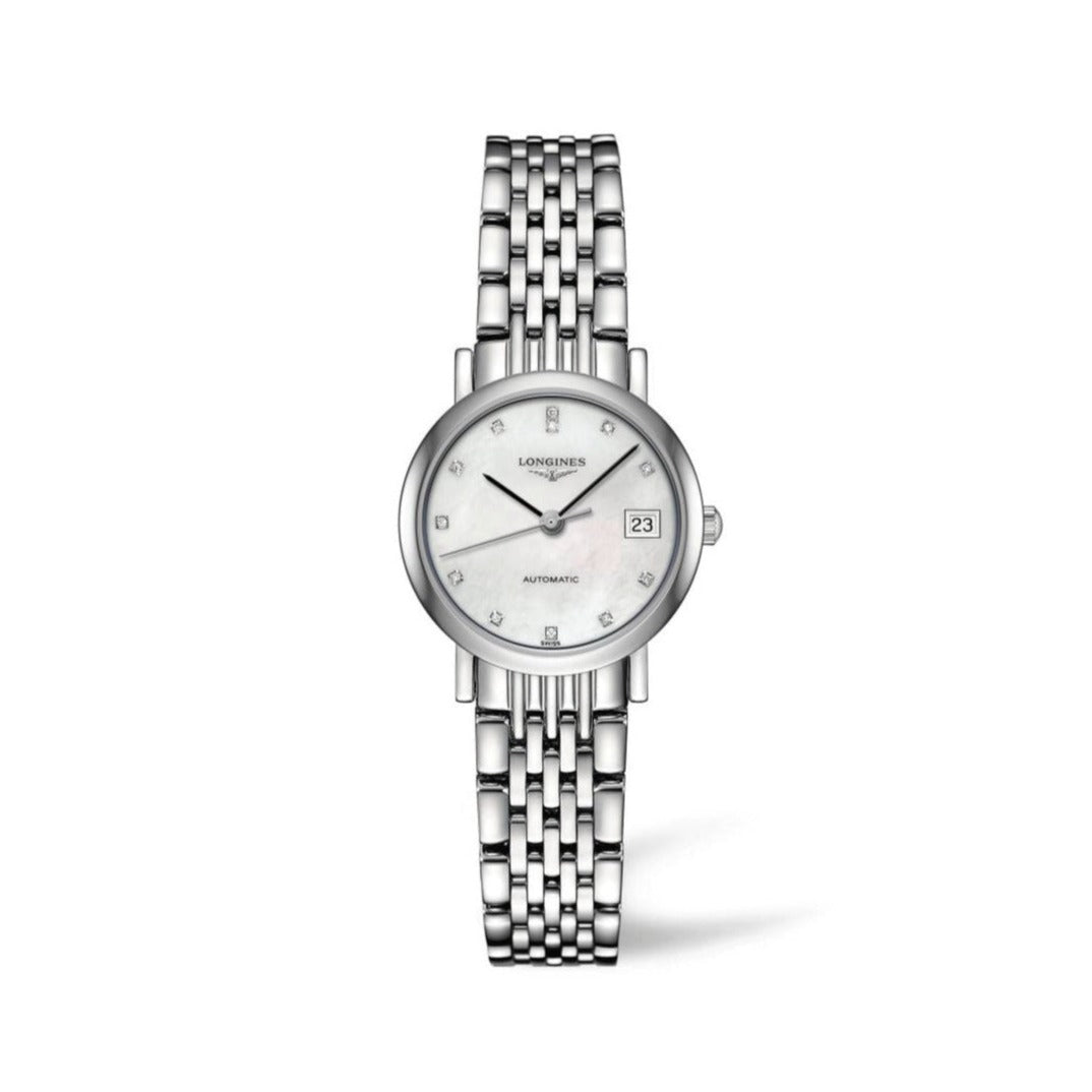 Longines Elegant Collection 25mm Automatic Mother-of-Pearl Dial Ladies' Watch with Diamonds