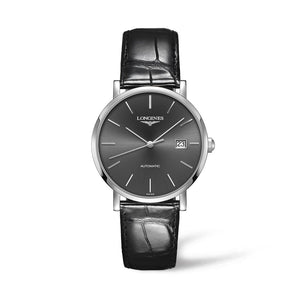 Longines Elegant Collection 39mm Automatic Silver-Tone Dial Gent's Watch with Black Alligator Strap