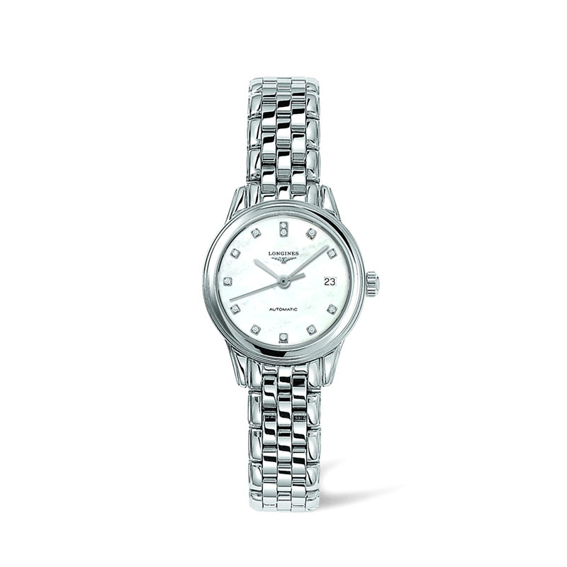 Longines Flagship Collection 26mm Round Stainless Steel Ladies' Watch with Diamonds