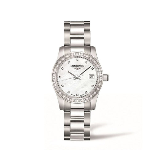 Longines Conquest Collection 29mm Diamond Bezel Mother-of-Pearl Dial Ladies' Watch