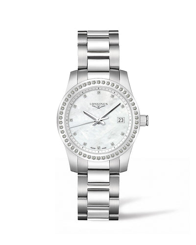 Longines Conquest Collection 34mm Diamond Bezel Mother-of-Pearl Dial Ladies' Watch