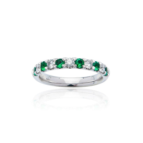 Sabel Collection 18K White Gold Alternating Diamond and Emerald Ring