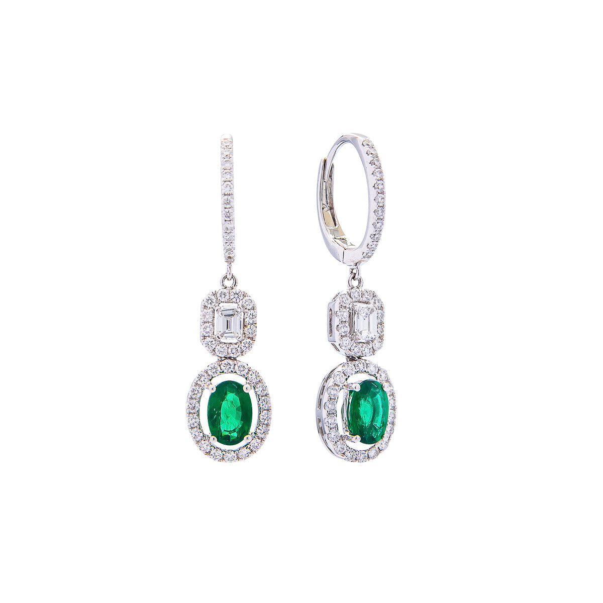 Sabel Collection 18K White Gold Oval Emerald and Emerald Cut Diamond Vintage Style Dangle Earrings