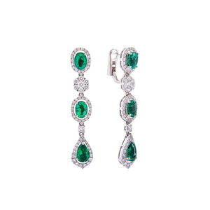 Sabel Collection 18K White Gold Pear Shape and Oval Emerald and Diamond Vintage Style Dangle Earrings