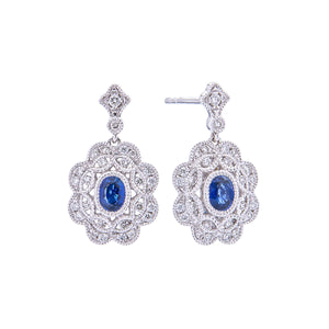 Sabel Collection 18K White Gold Oval Sapphire and Diamond Vintage Style Dangle Earrings