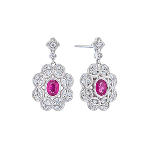 Sabel Collection 18K White Gold Oval Ruby and Diamond Vintage Style Dangle Earrings