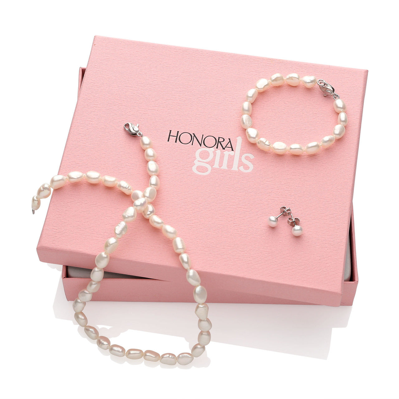 Honora Girls' White Baroque Pearl Necklace, Bracelet, and Stud Earring Box Set