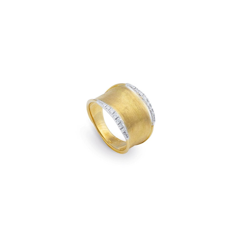 Marco Bicego Lunaria 18K Yellow Gold Hand-Engraved Two Element Ring with Diamonds