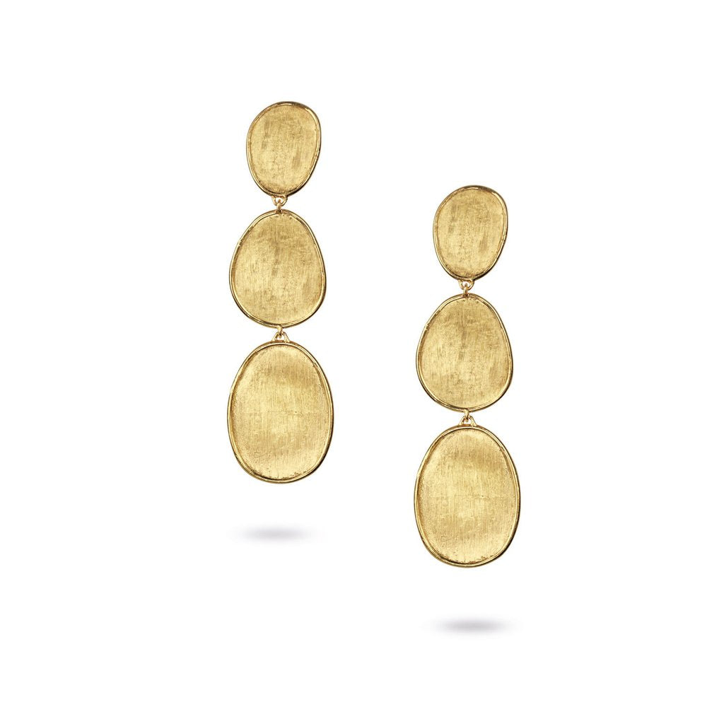 Marco Bicego Lunaria 18K Yellow Gold Hand-Engraved Three Tier Dangle Earrings