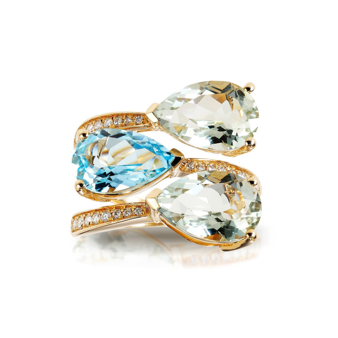 Marco Moore 14K Yellow Gold Green Amethyst, Blue Topaz, and Diamond Coil Ring
