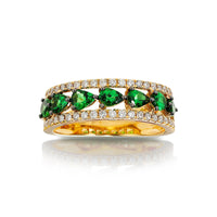 Marco Moore 14K Yellow Gold Pear Shape Green Garnet and Round Diamond Ring