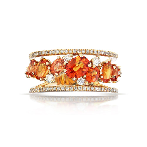 Marco Moore 14K Yellow Gold Oval Orange Sapphire and Diamond Band Ring