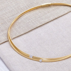 Marco Bicego Masai 18K Yellow Gold Two Strand Diamond Station Necklace
