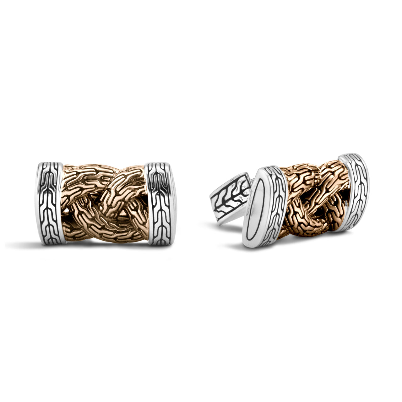 John Hardy Men's Classic Chain Bronze and Silver Braided Cufflinks