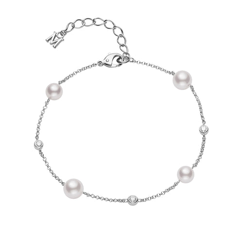 Mikimoto 6.5mm Akoya Cultured Pearl and Diamond Station Bracelet
