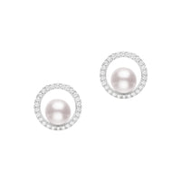 Mikimoto 18K White Gold 6mm Akoya Pearl and Diamond Stud Earrings