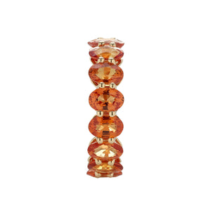 Marco Moore 18K Yellow Gold Oval Orange Sapphire Eternity Ring