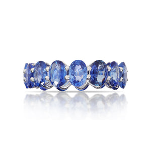 Marco Moore 18K White Gold Oval Blue Sapphire Eternity Ring