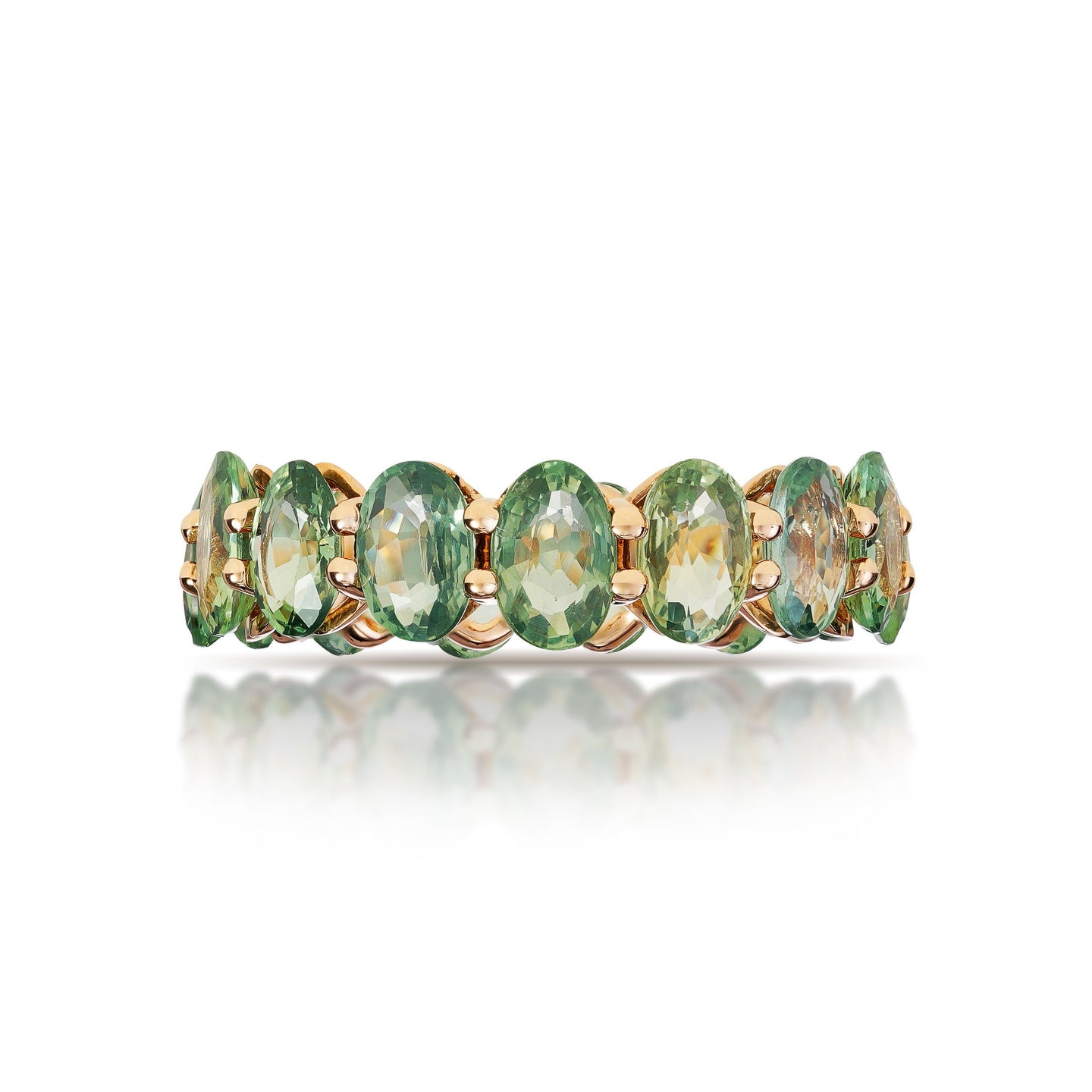 Marco Moore 18K Rose Gold Oval Green Sapphire Eternity Ring