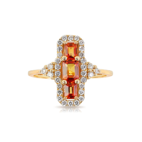 Marco Moore 18K Yellow Gold Emerald Cut Orange Sapphire and Diamond Halo Ring