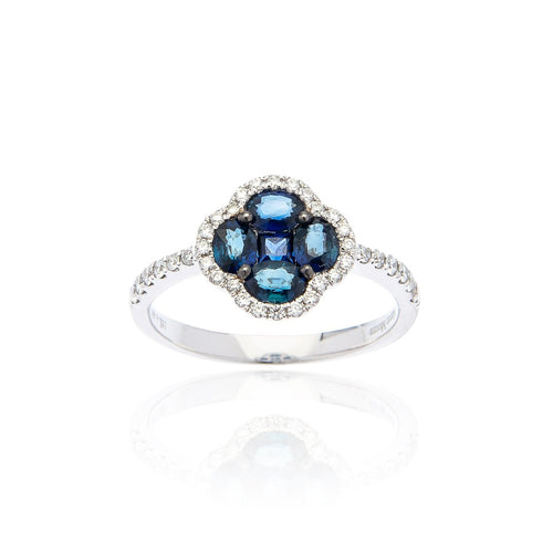 Marco Moore 18K White Gold Oval Sapphire and Diamond Ring